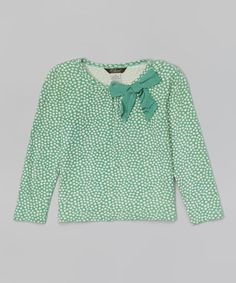 Look at this #zulilyfind! Jade Green Polka Dot Cologne Tee - Toddler & Girls by E-Land Kids #zulilyfinds