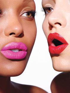 The Pink on the left is MAC Pro Lipstick in Full Fuchsia. The Red is from Avon Ultra Color Rich Lipstick in Red 2000