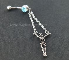 silver skull Belly Button Rings belly button ring by MagicTrip