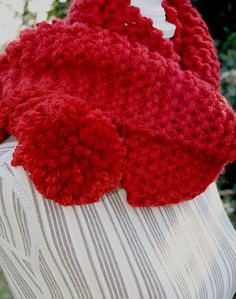 SCIARPA LUNGA  lana grossa maglia chunky red spice di AloneMavi