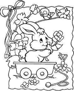 Coloriage Paques - Lapins 2 à colorier | Allofamille