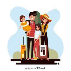 Family going on a trip background Free Vector Fox Illustration, Family Illustration, People Illustration, Character Illustration, Going On A Trip, Backgrounds Free, Illustrator Tutorials, Illustrations And Posters, Vector Pattern