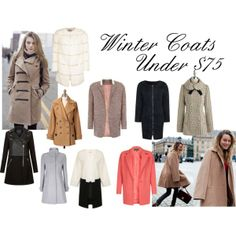 """Winter Coats Under $75"" by Big Curls and Pearls blog"