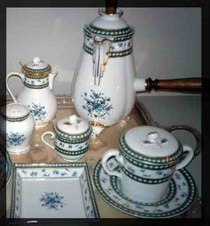 Marie Antoinette's chocolate service set, embellished  with blue flowers.