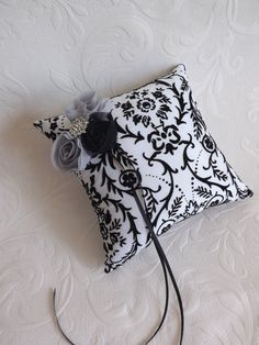 Black White Damask Wedding Ring Pillow Chiffon by creations4brides, $32.00