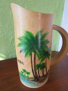 Bamboo Mosa Juice Pitcher Vintage Florida Kitsch Souvenir  Palm Tree Beach Hand Painted