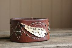 brown leather cuff with rivets and stiching by cynthiagarrettShop