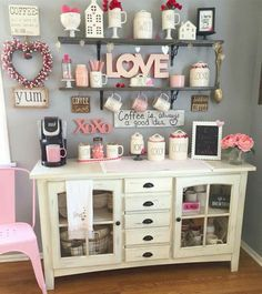 Best Home Coffee Bar Ideas for All Coffee Lovers Are you looking for inspiration to design coffee bar? Check out our best collection of DIY coffee bar ideas for your home that will brighten your morning. Coffee Bar Home, Home Coffee Stations, Coffee Corner, Coffee Bars, Cafe Bar, Mini Cafeteria, Valentine's Home Decoration, Decorations, Apothecary Jars Decor