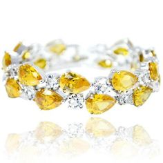 EVER FAITH® Silver-Tone Lady Tear Drop Yellow CZ Tennis Bracelet *** Read more reviews of the product by visiting the link on the image.