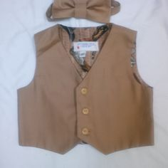 Boy'sTan Vest and Matching Bowtie Size  3T by anncraftcorner