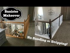 Makeover With No Sanding or Stripping This video tutorial demonstrates how to stain a banister without sanding or stripping using General Finishes Gel Stain and paint with water based primer and pai…Without Me Without Me may refer to: Painted Stair Railings, Stair Banister, Banisters, Diy Stair, Painted Staircases, Staining Stairs, Refinish Stairs, Staining Cabinets, Stairs Trim