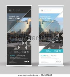 Abstract brochure cover set. White, black roll up design. Info banner frame. Ad text font. Title sheet model. Modern vector front page. City view brand flag. Blue triangle figure icon. Art flyer fiber