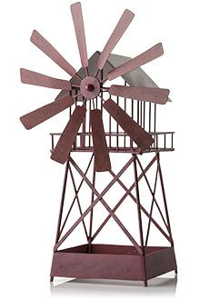 Pink Zebra COUNTRY CHARM RUSTIC WINDMILL SHADE (6'' D X 15.75'' H) #4009031 Metal shade painted rust red.  The windmill blades rotate and its open design makes it pair well with Simmering Lights or Glimmer Candles. Shop now at www.pinkzebrahome.com/lynettehanson