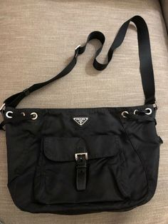 363b7fc4d3e8 Authentic Prada messenger bag - satchel - BLACK nylon unisex