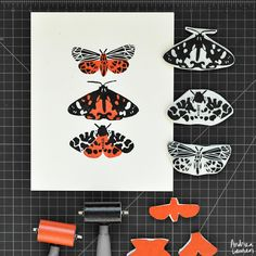 Tiger Moths - Original Block Print by Andrea Lauren via Andrea Lauren. Click on the image to see more!