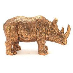 DecMode Polystone Rubbed Bronze Rhino Figurine - 87970