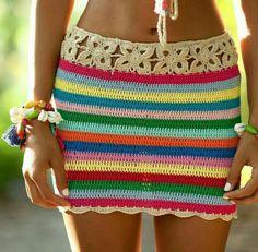 Saia de crochê colorida, moda praia, verão, lindaaaa.