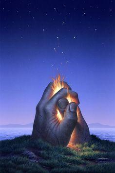 Surrealism Painting - Embers Turn To Stars by Jerry LoFaro Illusion Kunst, Illusion Art, Fine Art Amerika, Surrealism Painting, Star Art, Surreal Art, Love Art, Creative Art, Amazing Art