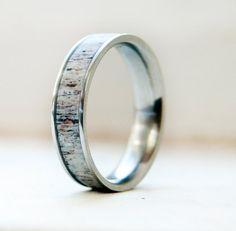 Handmade elk antler wedding ring.