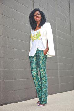 Cape Blazer + Banana Print Tank + Brocade Pants