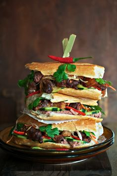 Braised Caramel Garlic Pork Belly Banh Mi with Pork Liver Pate, Pickled Carrot and Daikon, Cucumber and Chili Mayonnaise