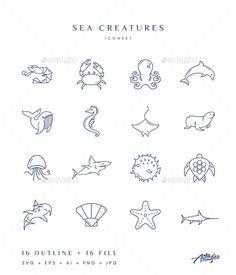 32 icons, include editable vector formats: SVG E. Seahorse Tattoo, Jellyfish Tattoo, Squid Tattoo, Ocean Tattoos, Octopus Tattoos, Sea Life Tattoos, Beach Tattoos, Seashell Tattoos, Tattoo Ideas