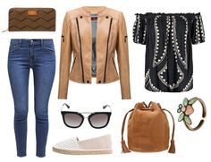 brown wallet, caramel leather jacket - Erin - Verssen, blue jeans, blouse with bare shoulders, leather bag, sunglasses, ring, espadryle