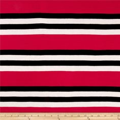 Jersey Knit Multi Stripes Hot Pink/Black/White from This lightweight jersey knit fabric has good drape and four-way stretch on the grain and on the vertical) for comfort and ease. Use for t-shirts and tops. Pink Black, Hot Pink, Black And White, Fabulous Fabrics, Loungewear, Fabric Design, Stripes, Quilts, Pattern