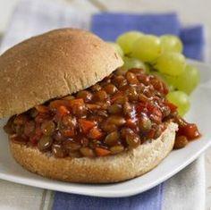 Vegetarian Sloppy Joes - Lentils work great as a meat substitute in these Sloppy Joes