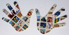 Briefmarken Postage Stamp Collage Hände