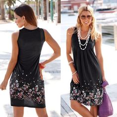 Sleeveless Floral Print Loose Casual Women Dress only $13.99 – mofylook Sexy Dresses, Casual Summer Dresses, Beach Dresses, Casual Dresses For Women, Plus Size Dresses, Clothes For Women, Sleeveless Dresses, Midi Dresses, Party Dresses