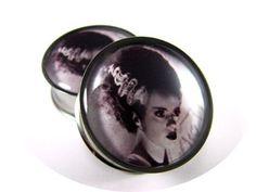Bride of Frankenstein Picture Plugs gauges by mysticmetalsorganics, $19.99