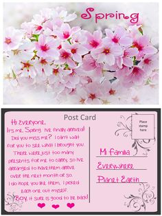 An inspirational message about Spring from Mother Nature Do You Miss Me, Post Card, Inspirational Message, Mother Nature, Presents, Messages, Spring, Cards, Gifts