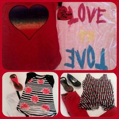 Who needs Valentines day to celebrate red! Tween fashion from Vintage Havana,  Flowers by Zoe, Joes Jeans and Dirtee Hollywood