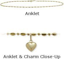 10K Yellow Gold 9 Bead Style Anklet with 9mm Heart Charm -- Visit the image link more details.(This is an Amazon affiliate link and I receive a commission for the sales)
