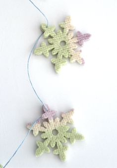 Pastel striped Christmas snowflake felt by TheFeminineTouch