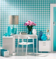 Blue and white very cute home office design (or kids room). Aqua Office, Turquoise Office, Turquoise Room, Retro Office, Office Decor, Office Chic, Office Ideas, Furniture Deals, Kids Furniture