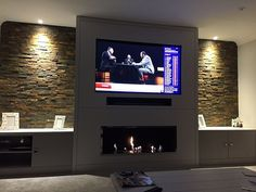 Modernized and attractive TV wall design. Living room tv Big Bio Ethanol … - All About Decoration Wall Units With Fireplace, Living Room Decor Fireplace, Modern Fireplace, Living Room Tv, Living Room Lighting, Built In Tv Wall Unit, Wall Unit Designs, Tv Wall Design, Tv Wanddekor