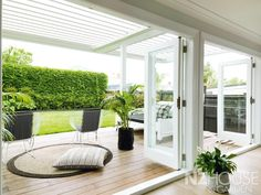 Timber doors opening from family room onto deck, pergola shade built out from house over Deck With Pergola, Outdoor Pergola, Backyard Pergola, Pergola Shade, Pergola Ideas, Pergola Kits, Pergola Lighting, Indoor Outdoor Living, Outdoor Rooms