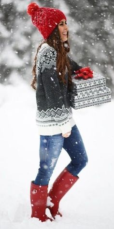 #winter #fashion / Red Beanie & Boots + Printed Black & White Knit