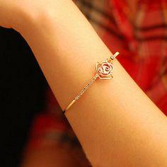 nice Women New Fashion Rhinestone Camellia Rose Gold Bangle Bracelet Jewelry Hot - For Sale