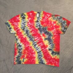 Adult Tie Dye T Shirt / Adult 2XL / Red Yellow Black / All