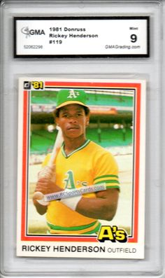 1981 Rickey Henderson, Graded 9 Mint,  http://www.rcsportscards.com/graded-baseball-cards.html