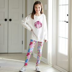 Girls White Lightweight Pullover with Fuschia Sparkle Initials – Lolly Wolly Doodle