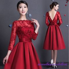 Knee length Lace Bridesmaid dresses Full long sleeve A line Satin Women Party gowns for Wedding Custom Cheap Beauty Girls dress Elegant Dresses, Pretty Dresses, Beautiful Dresses, Gorgeous Dress, Lace Bridesmaid Dresses, Prom Dresses, Formal Dresses, Vestidos Vintage, Vintage Dresses