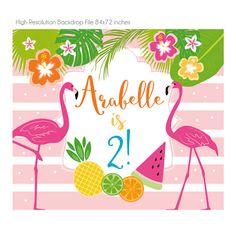 DIGITAL FILE Backdrop Poster: Flamingo Hawaiian Birthday Hawaiian Birthday, Flamingo Birthday, Flamingo Party Supplies, Flamenco Party, Flamingo Vector, Banner Backdrop, Birthday Photography, Party Kit, Backdrops For Parties
