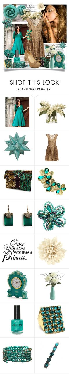 Teal & Gold by annagiro on Polyvore featuring moda, Issa, Kate Spade, Fantasy Jewelry Box, Matthew Williamson, One Button, Alexis Bittar, H&M, CO and Ethan Allen