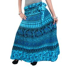 Mogulinterior Indian Wrapskirt Blue Ethnic Printed Cotton Wrap Around Skirts for Womens