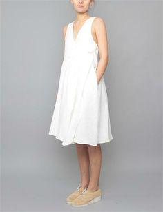 Creatures of Comfort Desa Dress- Italian Linen White