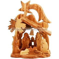 Mini Olive wood Nativity scene with Bethlehem Church background, Church bell and Star of Bethlehem over the Manger. Made in Bethlehem. Size: 5.5 x 4 x 3 inches approx. Beautifully made Christian gift from the Holy Land. Only $18.95 while stocks last!